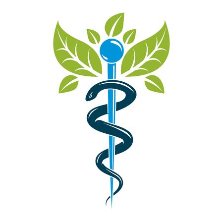 Símbolo del caduceo, ilustración conceptual del vector de la asistencia sanitaria. Emblema creativo de la homeopatía. Ilustración de vector