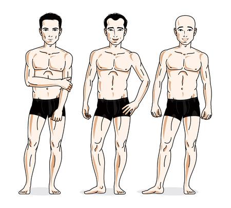 Confident handsome men posing in black underwear. Vector people illustrations set. Vetores