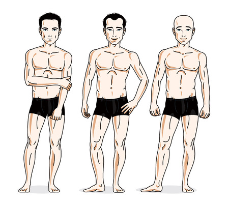 Confident handsome men posing in black underwear. Vector people illustrations set. Illustration