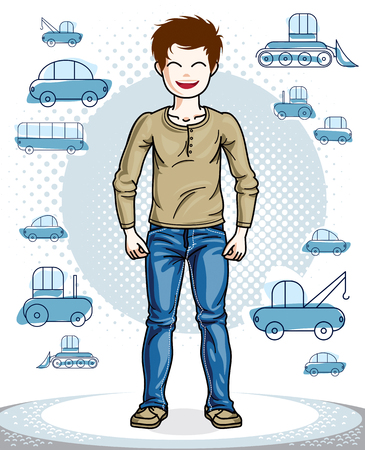 school age: Cute little teenager boy standing wearing fashionable casual clothes. Vector kid illustration. Fashion and lifestyle theme cartoon. Illustration