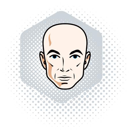 Man gezicht, menselijk hoofd. Vector karakter, knappe kale man. Stock Illustratie
