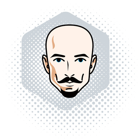 Vector illustration of handsome hairless male face with mustache and beard, positive face features, clipart.