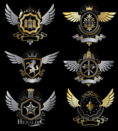 five star: Vintage heraldry design templates, vector emblems created with bird wings, crowns, stars, armory and animal illustrations. Collection of vintage style symbols. Illustration