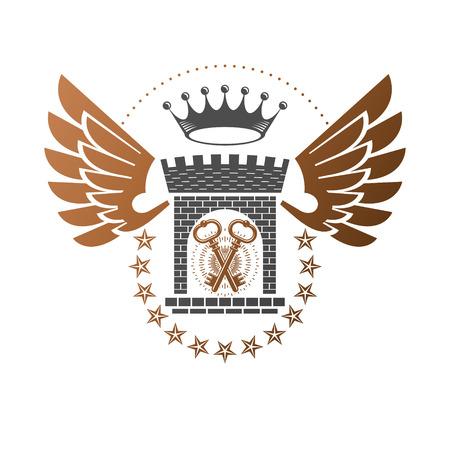 Ancient Bastion emblem. Heraldic vector design element. Retro style label, heraldry logo. Ornate logotype on isolated white background.