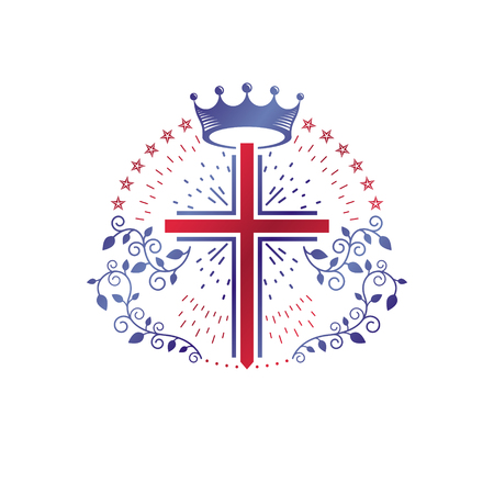 Cross Religious graphic emblem created using imperial crown and floral ornament, Christian crucifixion. Heraldic Coat of Arms, vintage vector logo isolated on white background.
