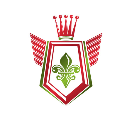 Vintage heraldic emblem created with monarch crown and lily flower royal symbol. Best quality product symbol, organic food theme illustration, winged guard shield.