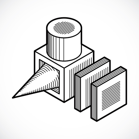 Abstract vector, isometric dimensional shape.