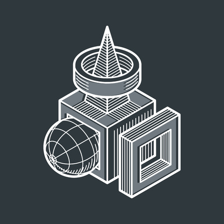 3D design, abstract vector dimensional cube shape. Illustration