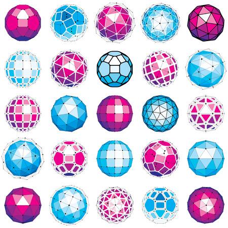 Ensemble d'objets low poly de wireframe dimensions vectorielles, formes de facettes sphériques avec grille. La collection d'éléments de maillage 3D de technologie peut être utilisée comme forme de conception en ingénierie.