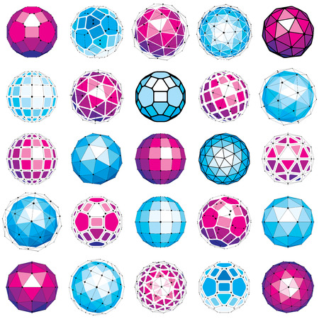 Set of vector dimensional wireframe low poly objects, spherical facet shapes with grid. Technology 3d mesh elements collection can be used as design forms in engineering.