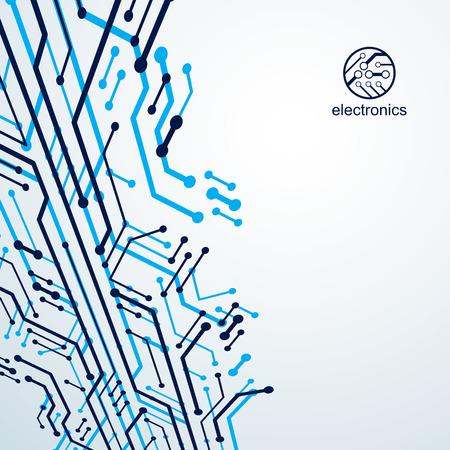 Comunicación de tecnología elemento cibernético. Ilustración abstracta de vector de placa de circuito. Fondo moderno de tecnologías de innovación