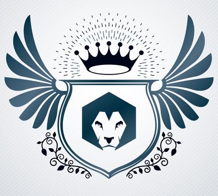 winged lion: diseño heráldico, vector emblema de la vendimia.