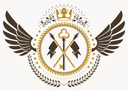 Classy emblem made with bird wings decoration, keys and monarch crown symbol. Vector heraldic Coat of Arms.