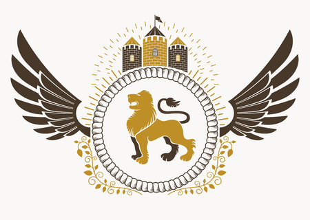 winged lion: Classy emblem made with bird wings decoration, wild lion and medieval stronghold. Vector heraldic Coat of Arms.