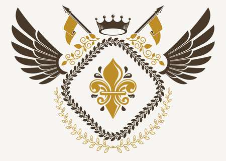 Vintage winged emblem created in vector heraldic design and composed using lily flower symbol and imperial crown.