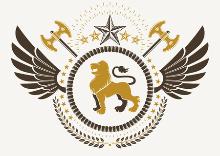 winged lion: Vintage winged emblem created in vector heraldic design and composed using wild lion illustration, laurel wreath and pentagonal stars.