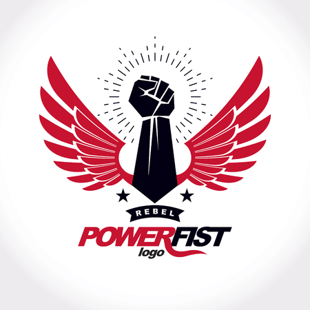 raise hand: Strong fist of an active sportsman vector symbol created using eagle wings and stars. Fighting club abstract emblem.