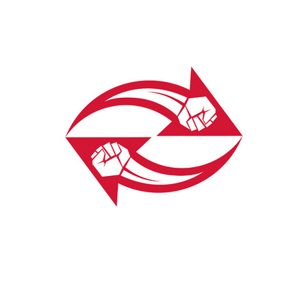 Muscular clenched fist vector emblem created in shape of arrow. Social revolution concept. Illustration