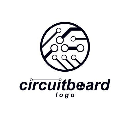 Elemento cibernético Vector la ilustración circular abstracta de la placa de circuito. Logotipo de microchip de tecnología.