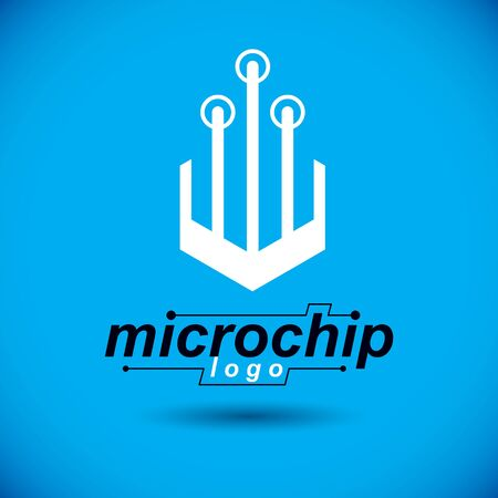 Vector circuit board with electronic components of technology device. Computer motherboard cybernetic abstraction, microchip logo. Illustration