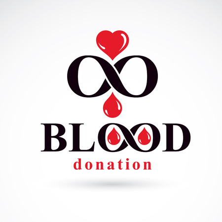Blood donation inscription and created with vector red blood drops Illustration