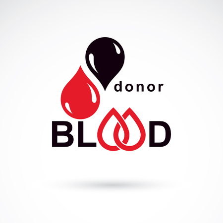 Blood donor inscription isolated on white. Vector red blood drops. Save life and donate blood. Medical care emblem.