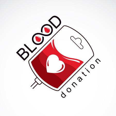 blood transfer: Vector illustration of blood dropper prepared for blood donation. Blood transfusion metaphor, medical care emblem.