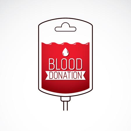 Vector illustration of blood dropper prepared for blood donation. Blood transfusion metaphor, medical care emblem.