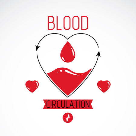 blood transfer: Vector illustration of heart shape full of blood composed with arrows. Cardiovascular system diseases prevention conceptual emblem for use in pharmacy. Illustration