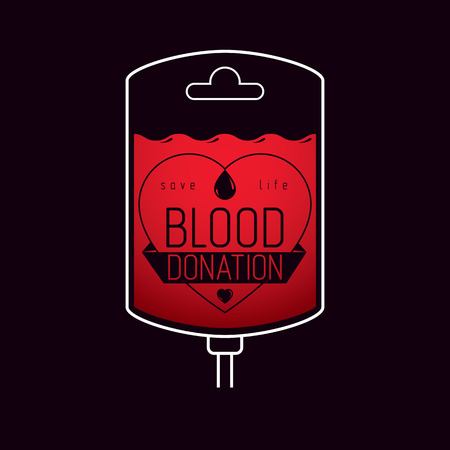 rh: Blood bag vector graphic emblem. Blood donation conceptual logo. Medical theme graphic symbol.