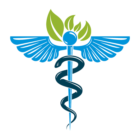 homeopathic: Caduceus symbol composed with poisonous snakes and bird wings, healthcare conceptual vector illustration. Alternative medicine theme.