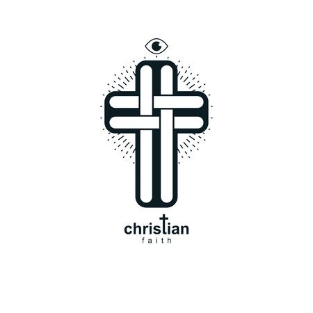 기독교 십자가 진정한 믿음 벡터 종교 기호, 기독교 예수 아이콘입니다.