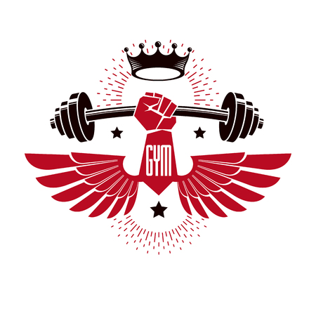 Bodybuilding weightlifting gym logotype sport club, retro stylized vector emblem or badge with wings. With barbell and strong hand fist.