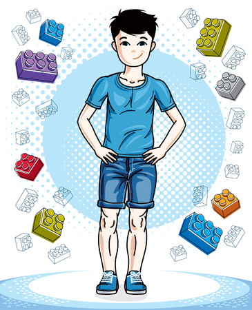 Young teen boy cute children standing wearing fashionable casual clothes. Vector human illustration. Childhood lifestyle cartoon.