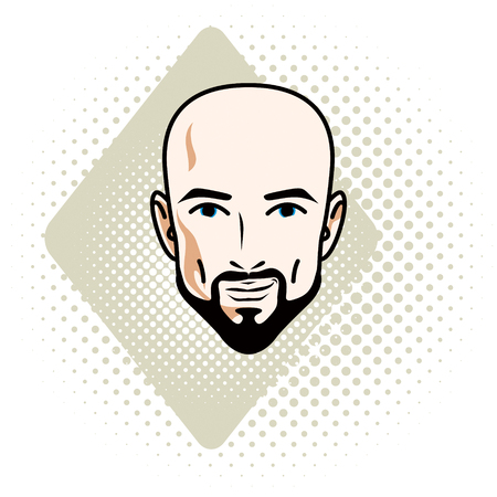 Man face, human head. Vector character wearing whiskers and beard, handsome bald male.