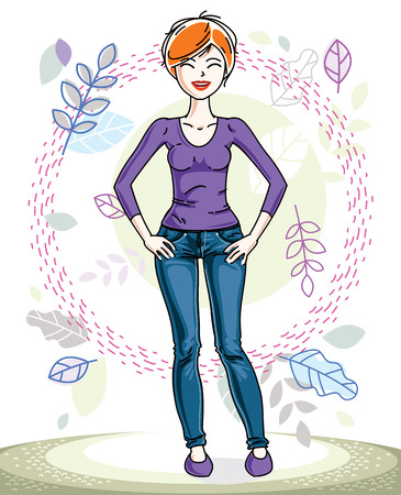 sweatshirt: Beautiful stylish young red-haired woman posing on background of spring landscape and wearing different casual clothes. Vector nice lady illustration. Springtime theme clipart.