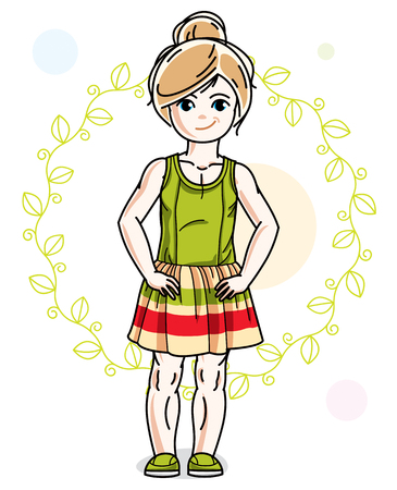 Little blonde cute girl standing on spring design with leaves Illustration
