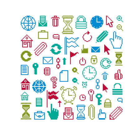 Vector pixel icons isolated, collection of 8bit graphic elements. Simplistic digital signs.
