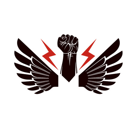 uprising: Vector illustration composed using strong muscular raised clenched fist made with lightning symbol. Power and authority concept. Illustration