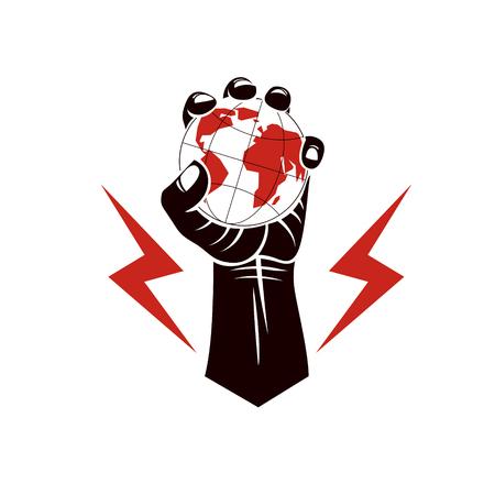 Eine Vektorabbildung, die unter Verwendung des starken muskulösen angehobenen Armes mit Blitzsymbol zusammengesetzt wird und Erdekugel hält. Behörde als Mittel der globalen Kontrolle und Manipulation