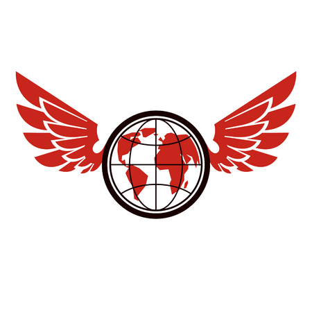 A Vector Earth planet winged illustration. Power of global information.