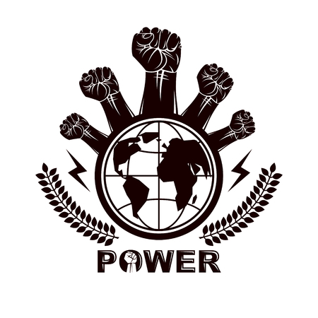 Marketing leaflet composed with raised clenched fists of revolutionary people and globe, vector illustration. No limits and restrictions, nonconformist concept.