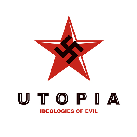 A Vector star logo composed with fascism symbol. Totalitarian utopia, political propaganda