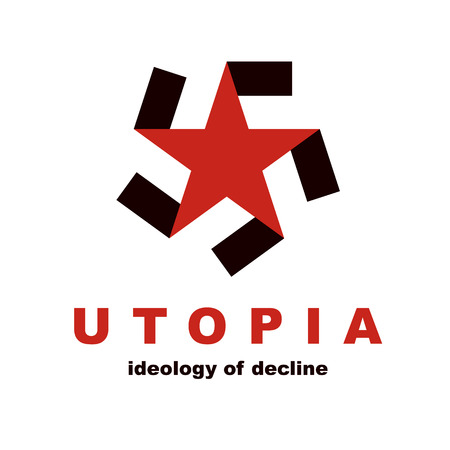 Vector star logo composed with fascism symbol. Totalitarian utopia, political propaganda