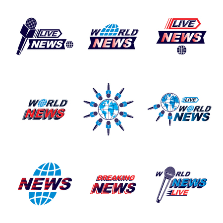 Set of public relations concept and press conference theme vector emblems and posters. Blue Earth, journalistic microphones composed with news writing. News and facts reporting. Illustration