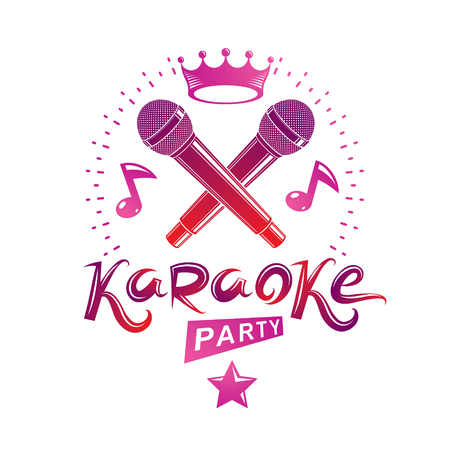 Microphone audio equipment composed with musical notes, can be used as vector emblem for karaoke party advertising and nightclub discotheque invitation poster. Illustration
