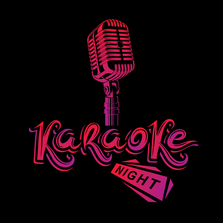 Stage microphone vector illustration, stereo and audio professional equipment. Vector emblem for use in karaoke night advertising flyer design. Illustration