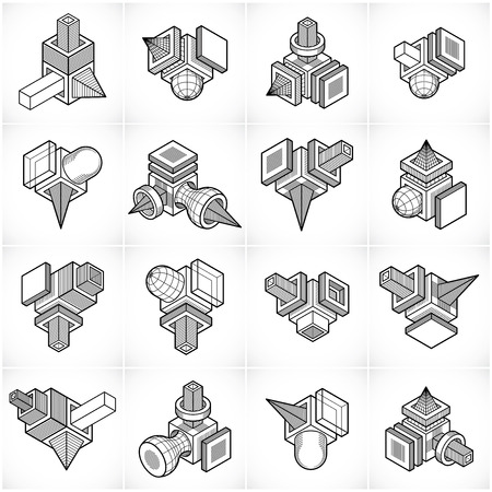 Isometric abstract vector shapes set.