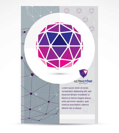 Innovation technologies company presentation flyer. Graphic vector illustration. Colorful abstract 3d mesh object, design element technology low poly template. Illustration