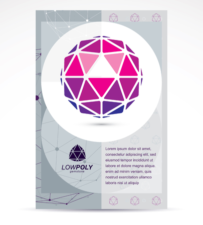 Digital technologies company advertising flyer. Abstract vector 3d geometric colorful low poly object.
